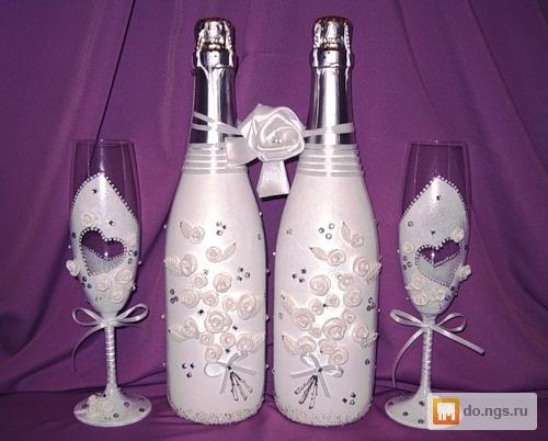 Декупаж свадебного шампанского своими руками