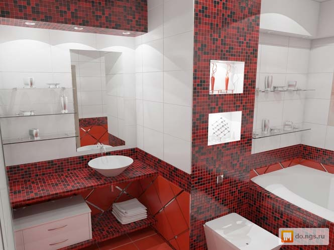 Red and white floor tiles
