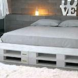 Кровать из евро поддонов. Кровать в стиле loft, Омск